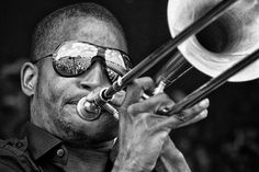 Trombone Shorty doing what he does best - pic by Skip Bolen, nominated for Jazz Journalist Association Photo of the Year, 2012.