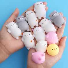 Handheld toys to help with sensory learning, ease stress and anxiety, and give fidgety fingers something to do. Animal Squishies, Cute Squishies, Stress Toys, Stress Relief Toys, Figet Toys, Cool Fidget Toys, Oui Oui, Cute Toys, Diy Crafts For Kids