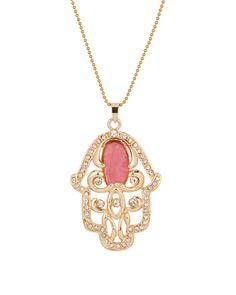 Gold Plated Chain Pedant With Brilliant Cz Stones, Exquisite Design // hamsa necklace