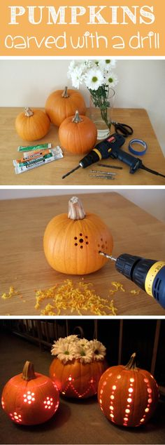 "Well, this certainly looks easier (and cuter) than the same old jack o' lantern. Pumpkins ""carved"" with a drill via Craft by Photo"