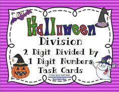 Halloween Math Division Task Cards - These are perfect for a center, Scoot Game or whole class review. This store has a ton of Halloween, fall, Thanksgiving, and skill based Scoot games and task cards. All individual sets are under two dollars. This is is $1.