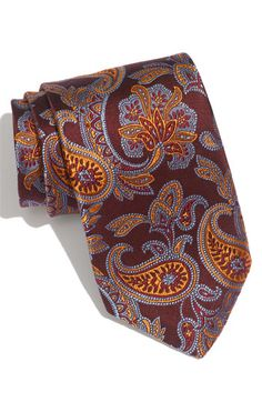 Brown with orange and blue paisley tie