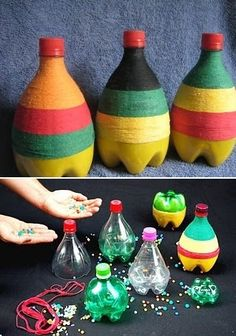 Sélection {DIY} Instruments Enfants Fête de la Musique Sounds of Nature: possibly recycle bottles from pizza party, hot glue or super glue, yarn/ribbon/sharpies to decorate, bag of sand, funnel Instrument Craft, Musical Instruments, Homemade Instruments, Music Crafts, Plastic Bottle Crafts, Music And Movement, Pet Bottle, Recycled Bottles, Pizza Party