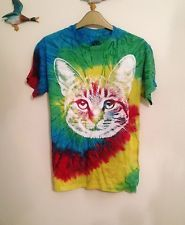 URBAN OUTFITTERS VTG CAT BRIGHT TIE DYE T-SHIRT S 8 10 GRUNGE KITTEN TOP ANIMAL. Is it weird that I would totally wear this??