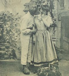 French Antique Postcard - Normandy Idyll (Country Couple) by ChicEtChoc on Etsy
