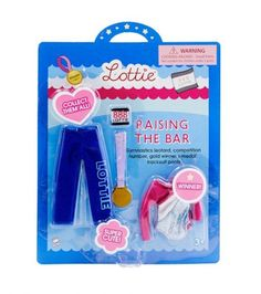 Raising the Bar gymnastics outfit for the Lottie doll : see more at http://www.lottie.com/collections/all-products/products/raising-the-bar-gymnastics-clothes-outfit-for-lottie-doll