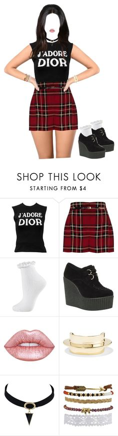 """""""Untitled #200"""" by missprettyyoungthing95 ❤ liked on Polyvore featuring Christian Dior, River Island, Topshop, Truffle, Dreamgirl, Lime Crime and Lisa Eisner"""