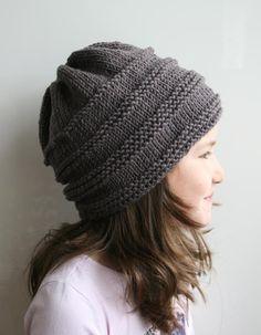 Knitting pattern slouchy unisex hat 08 via Craftsy