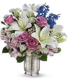 Teleflora's Garden Of Dreams Bouquet - gorgeous purple, lavender, blue and white #flowers.