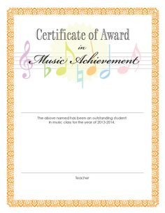 Certificate of achievement template awarded for different music award certificate a print out for student achievement at the end of the yelopaper Images