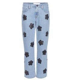 Victoria Victoria Beckham - Printed straight-leg jeans - The light blue denim pair feature a straight-leg fit and mid-rise waist for a casual vibe. - @ www.mytheresa.com