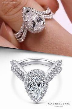 14K White Gold Pear Shape Halo Diamond Engagement Ring ER13661P6W44JJ #PearshapedEngagementRing #PearshapedRing #HaloDiamondRing #HaloEngagementRing #HaloRing #WhiteGoldEngagementRing #WhiteGoldRing #DiamondEngagementRing #UniqueEngagementRing #ElegantEngagementRing #ClassicEngagementRing #GabrielNY#UniqueJewelry #FineJewelry#GabrielAndCo #BridalRing #BeautifulEngagementRing #DiamondRing #UniqueDiamondRing #ClassicRing #ClassicDiamondRing #EngagementRings #EngagementRingsForWomen #UniqueRing Elegant Engagement Rings, Pear Shaped Engagement Rings, Halo Diamond Engagement Ring, Unique Diamond Rings, Unique Rings, Bridal Rings, White Gold Rings, Wedding Ideas, Jewelry