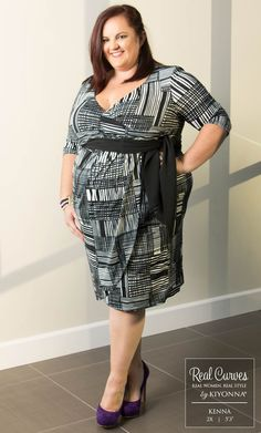 Real Curve Cutie Kenna, in our plus size Harlow Faux Wrap Dress, shows that a classic faux wrap design and pop of color works perfectly in the office.  www.kiyonna.com  #KiyonnaPlusYou  #MadeintheUSA  #OOTD