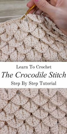 Learn how to crochet this beautiful crocodile stitch in the best possible way. With basic crochet stitches and step by step video tutorials, this pattern shouldn't be a problem for any level of crochet hooker. The crocodile stitch is one. Crochet Crocodile Stitch, Stitch Crochet, Crochet Diy, Crochet Stitches Patterns, Crochet Basics, Learn To Crochet, Crochet Crafts, Crochet Projects, Stitch Patterns