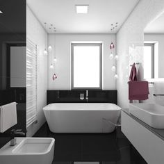 Charming high-gloss black-and-white bathroom Siena, White Bathroom, Bathroom Inspiration, High Gloss, Bathtub, Loft, Black And White, Deco, Czech Republic