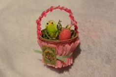 Vintage style Mini Altered Peat Pot Favor Basket by JDMCreations, $7.00