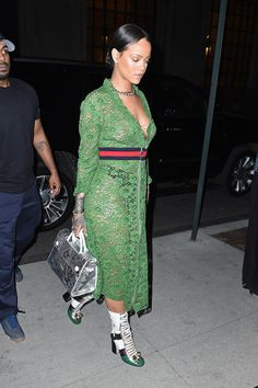 Rihanna wore a green lace Gucci dress and made it look even hotter than it did on the runway.
