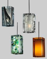 Lighting Pendants are made of fused and art glass