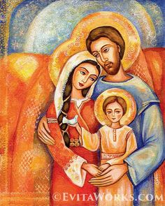 giclee: Holy Family Virgin Mary Jesus mother child by EvitaWorks Mary Jesus Mother, Mary And Jesus, Blessed Mother, Mother Son, Religious Icons, Religious Art, Nativity Painting, Family Poster, Religion Catolica