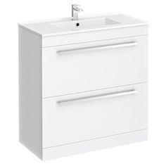 Nova High Gloss White Floor Standing Basin Unit x - at Victorian Plumbing UK White Vanity Unit, Basin Vanity Unit, Basin Unit, Bathroom Vanity Units, Vanity Sink, Bathroom Furniture, Small Bathroom, Furniture Decor, 2017 Decor