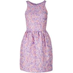 Markus Lupfer Erica Floral Jacquard Dress (£121) ❤ liked on Polyvore featuring dresses, lilac, purple cocktail dress, short floral dresses, fitted dresses, purple floral dress and short purple dresses
