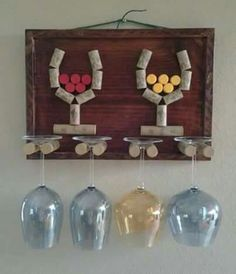 Decorative Wine Glass Holder by GulfCoasters on Etsy Wine Craft, Wine Cork Crafts, Wine Bottle Crafts, Wine Bottles, Wine Corker, Wine Cork Projects, Cork Art, Wine Glass Holder, Wine Decor
