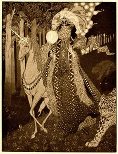 "Sidney Sime (1867--1941) - Romance Comes Down Out of Hilly Woodlands, illustration for ""Poltarnees, Beholder of Ocean"" in Lord Dunsany's A Dreamer's Tales 1910"