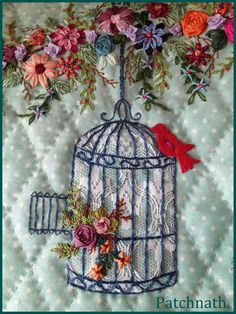Sewing | Quilt | Crazy Quilt | Embroidery | Bird | Cage
