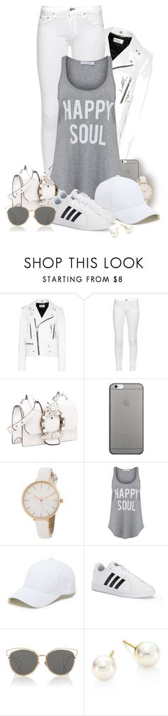 """""""Say it with your clothes"""" by sarahguo ❤ liked on Polyvore featuring Yves Saint Laurent, rag & bone, Miu Miu, Native Union, South Parade, Sole Society, adidas, Christian Dior, Majorica and WearIt"""