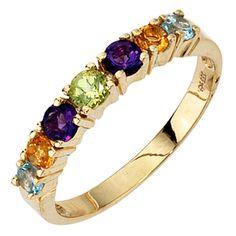 Damen Ring 333 Gold Gelbgold Amethyste Citrine Peridot 2 Blautopase A41370 62