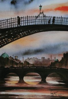 Val Byrne   The Ha'penny Bridge, Dublin