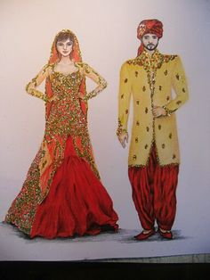 Bride and groom drawing