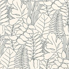 Happy Nature (343001) - Brewers Wallpapers - A pretty all over leaf silhouette design, with different leaf shapes overlaid to make a subtle effect.  Shown in the fresh black on white.  Other colours available. Please request sample for true colour match. Paste the wall.