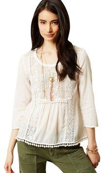 f1a9b351b14e Anthropologie Ivory Maeve Cottonwood Peasant Blouse Size 6 (S) 48% off  retail