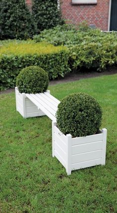Wooden bench with 2 planters, in grey or white
