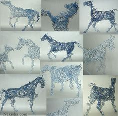 Blue Horse Series Wire Sculpture by Nakisha