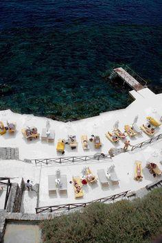 The beach built on the rocks of the Il Pellicano hotel in Tuscany's Porto Ercole