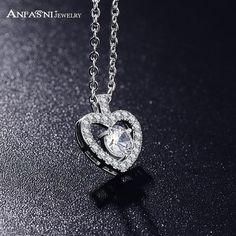 Silver Zircon Heart Pendant Jewelry Necklace