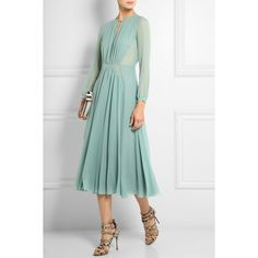 Burberry Prorsum Silk-chiffon midi dress (€755) ❤ liked on Polyvore featuring dresses, fitted dresses, green dress, loose fit dress, calf length dresses and loose dress