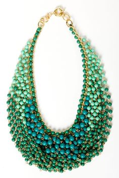 Teal Draped Bead Necklace