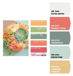 The Perfect Palette Possible color palate for the living room. The post The Perfect Palette appeared first on Diy Flowers. Colour Pallette, Color Palate, Colour Schemes, Color Combos, Green Palette, Peach Palette, Pastel Palette, Beautiful Color Combinations, Peach And Green