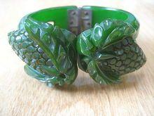 Wonderful and Rare Vintage Carved Bakelite Strawberry Bracelet ~ Clamper