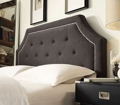 The Inspire Q Grace bed is available in 5 covers (white, beige, gray, charcoal, and black bonded leather). It's also available as a complete bed or just the headboard. #headboards #color #grey #leather #howdoyouIQ