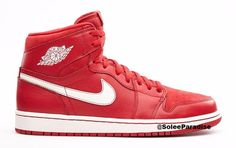 """The Air Jordan 1 Retro High OG """"Gym Red"""" blends the most topical, tonal take on the model with team shoe styling. An all-red upper is reminiscent of you-know-whose shoes, with white branding and midso"""
