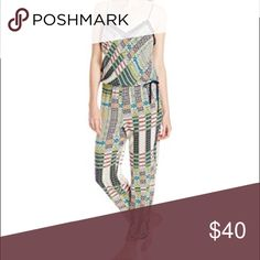 """Josie by Natori Jumpsuit Size Small NWT 100% Rayon lounge jumpsuit with v-neck, adjustable waist tie, and lace details. Super cute multicolored printed, called """"Monumental."""" NWT from sample sale. Natori Intimates & Sleepwear Pajamas"""