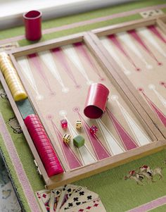 Needle point backgammon via House Beautiful.  But where can you get it?