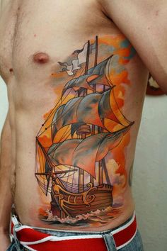 Ship tattoo by Dimitriy Samohin  I can't wait until my own ship is started....just a few more weeks
