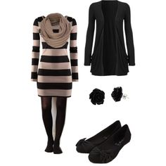 I have a black cardigan like this and tights! Maybe I can find a dress to go with it!