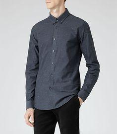 Mens Blue Flecked Twill Shirt - Reiss Ross