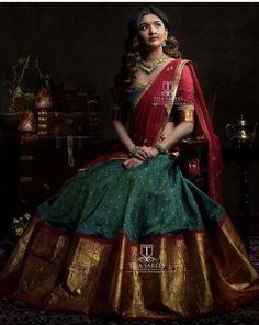 Half saree lehenga - whats app orMail tejasarees Half Saree Lehenga, Lehnga Dress, Bridal Lehenga Choli, Saree Look, Saree Wedding, Anarkali, Sari, Lehenga Dupatta, Kids Lehenga